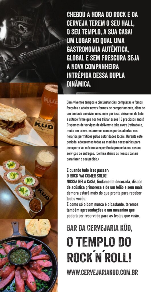 O bar da Cervejaria Kud terá muito Rock´n Roll e comidas boas