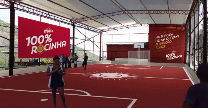 O projeto 100% Rocinha inclui a reforma de cinco quadras de futebol