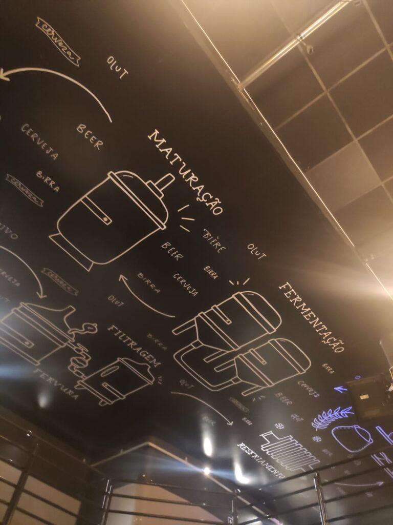 O teto grafitado é uma das atrações do bar